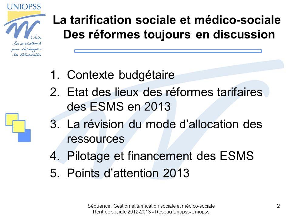 Etat des lieux des réformes tarifaires des ESMS en 2013