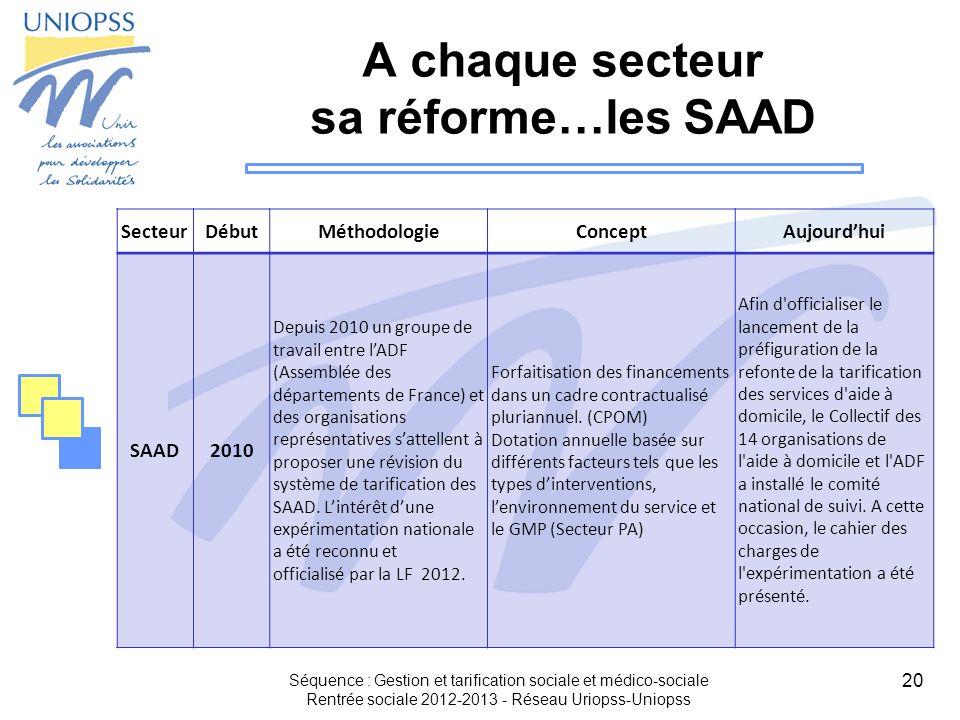 A chaque secteur sa réforme…les SAAD