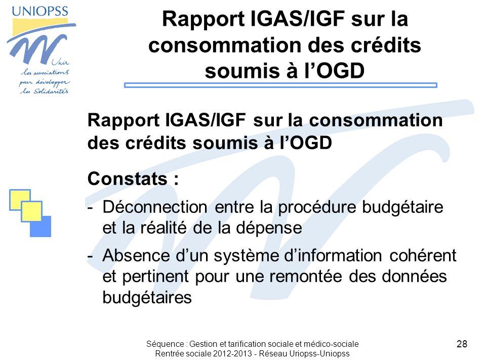 Rapport IGAS/IGF sur la consommation des crédits soumis à l'OGD