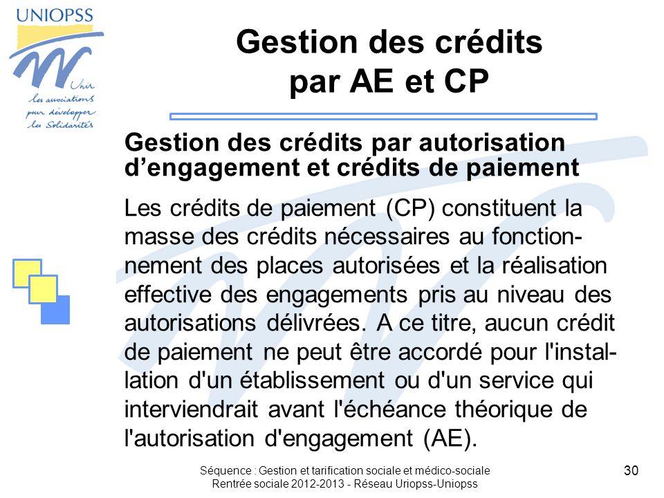 Gestion des crédits par AE et CP