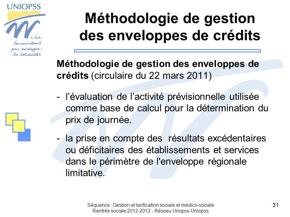 Méthodologie de gestion des enveloppes de crédits
