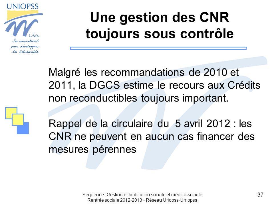 Une gestion des CNR toujours sous contrôle
