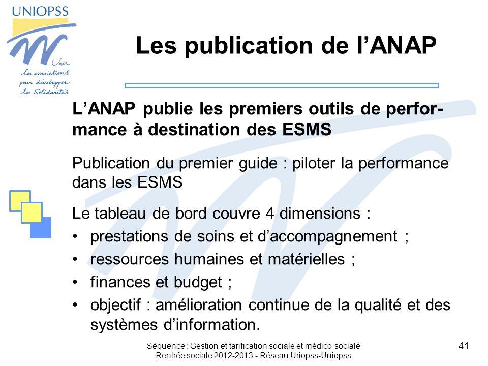 Les publication de l'ANAP