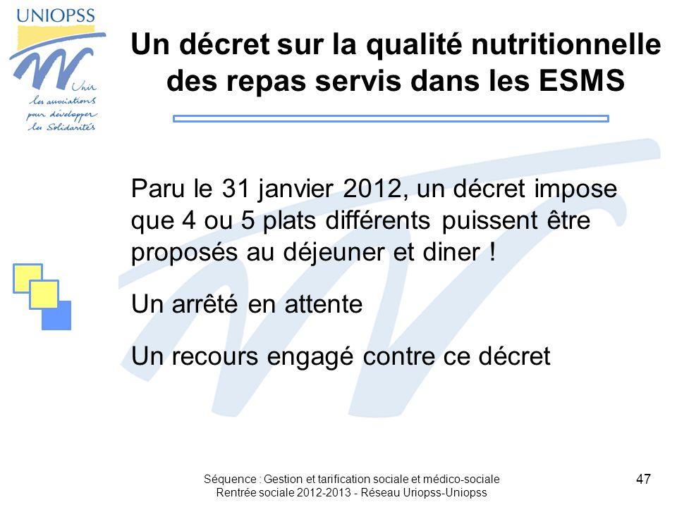 Un décret sur la qualité nutritionnelle des repas servis dans les ESMS