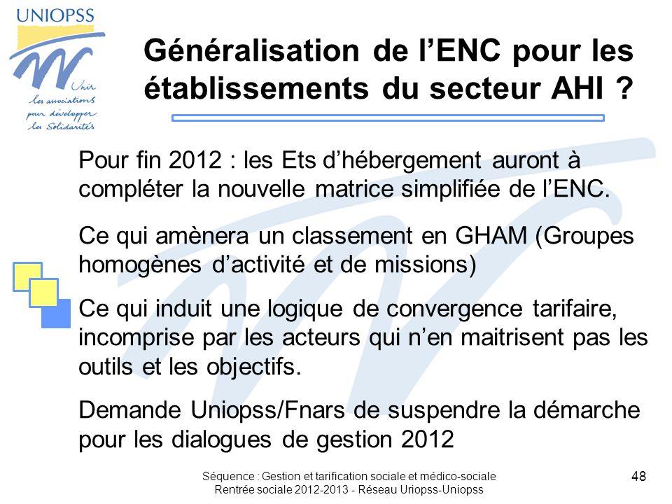 Généralisation de l'ENC pour les établissements du secteur AHI