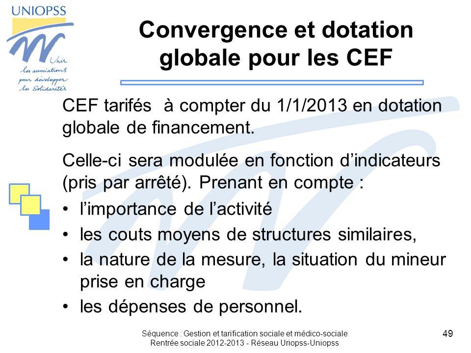 Convergence et dotation globale pour les CEF