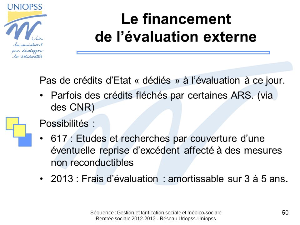 Le financement de l'évaluation externe