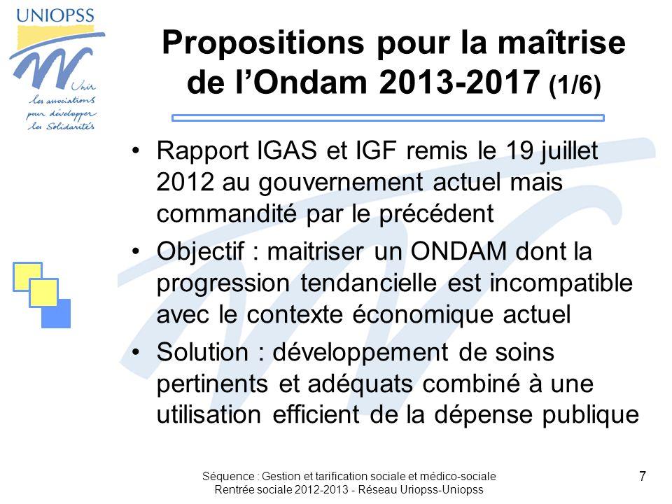 Propositions pour la maîtrise de l'Ondam 2013-2017 (1/6)