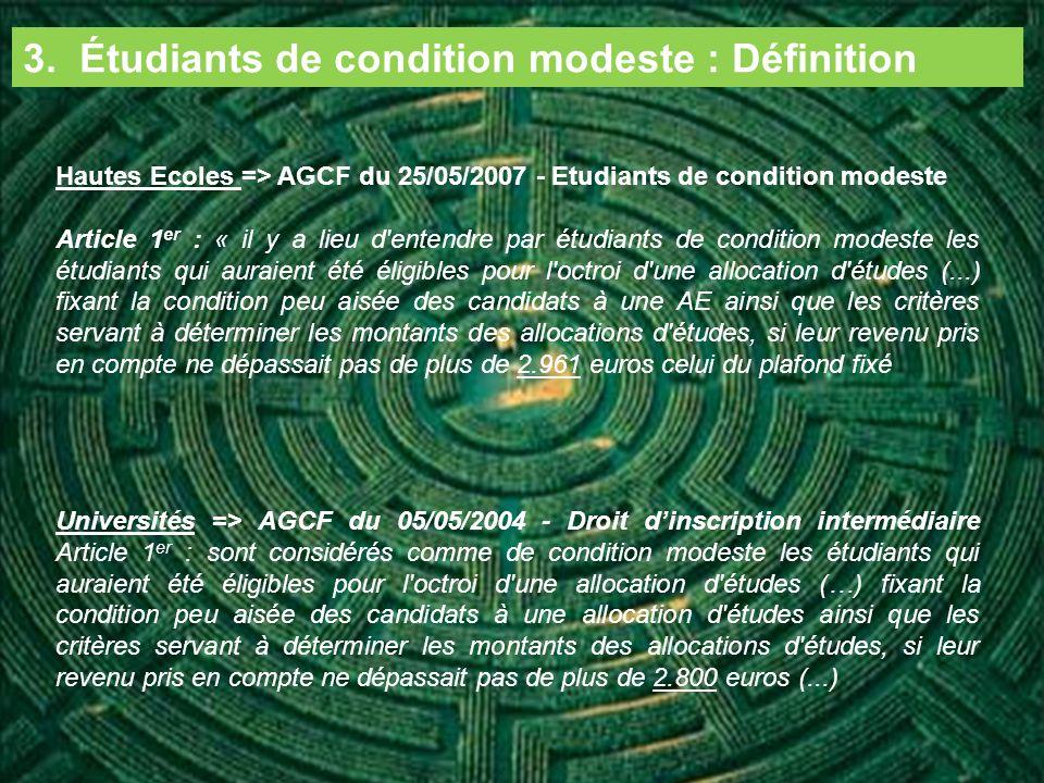 3. Étudiants de condition modeste : Définition