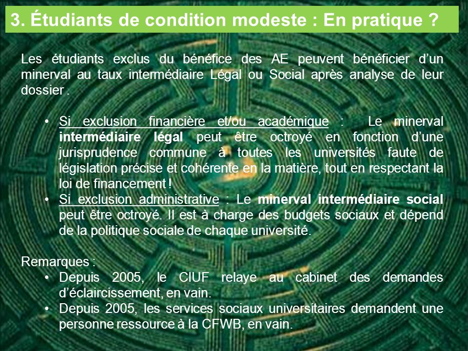 3. Étudiants de condition modeste : En pratique