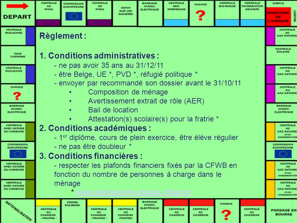 1. Conditions administratives :
