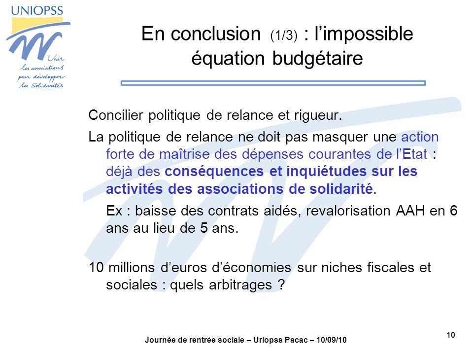 En conclusion (1/3) : l'impossible équation budgétaire