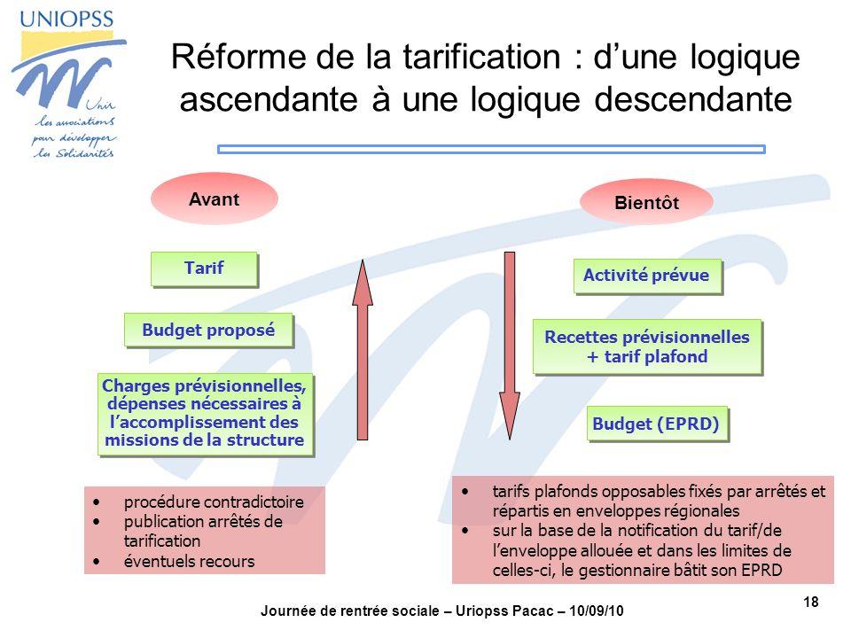 Réforme de la tarification : d'une logique ascendante à une logique descendante