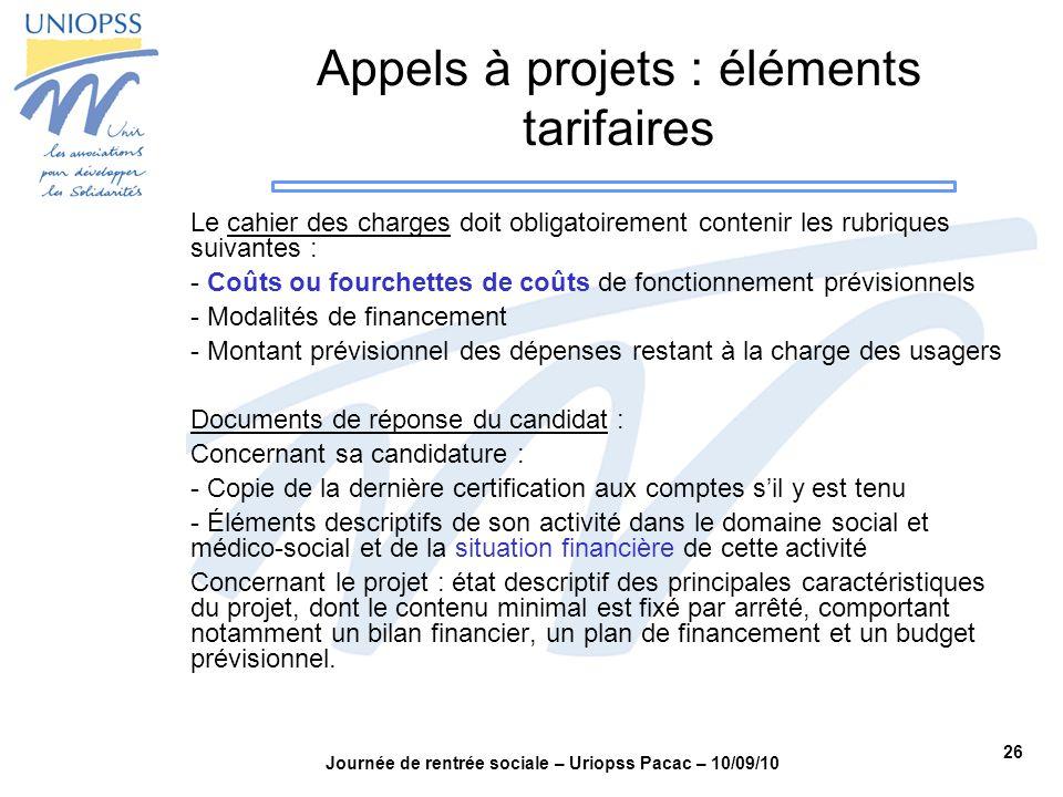 Appels à projets : éléments tarifaires