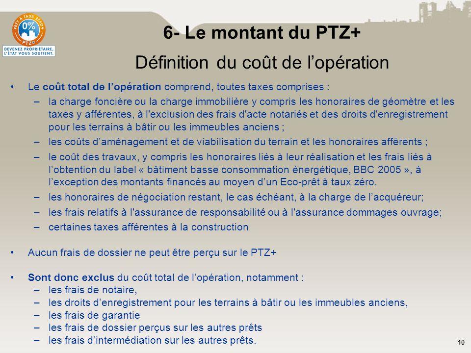 6- Le montant du PTZ+ Définition du coût de l'opération
