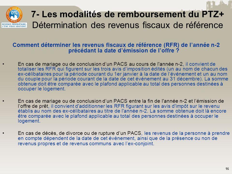 7- Les modalités de remboursement du PTZ+ Détermination des revenus fiscaux de référence