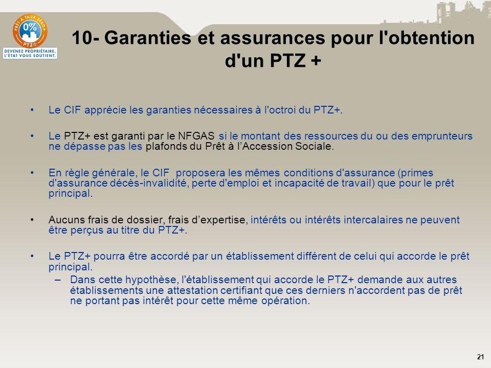 10- Garanties et assurances pour l obtention d un PTZ +