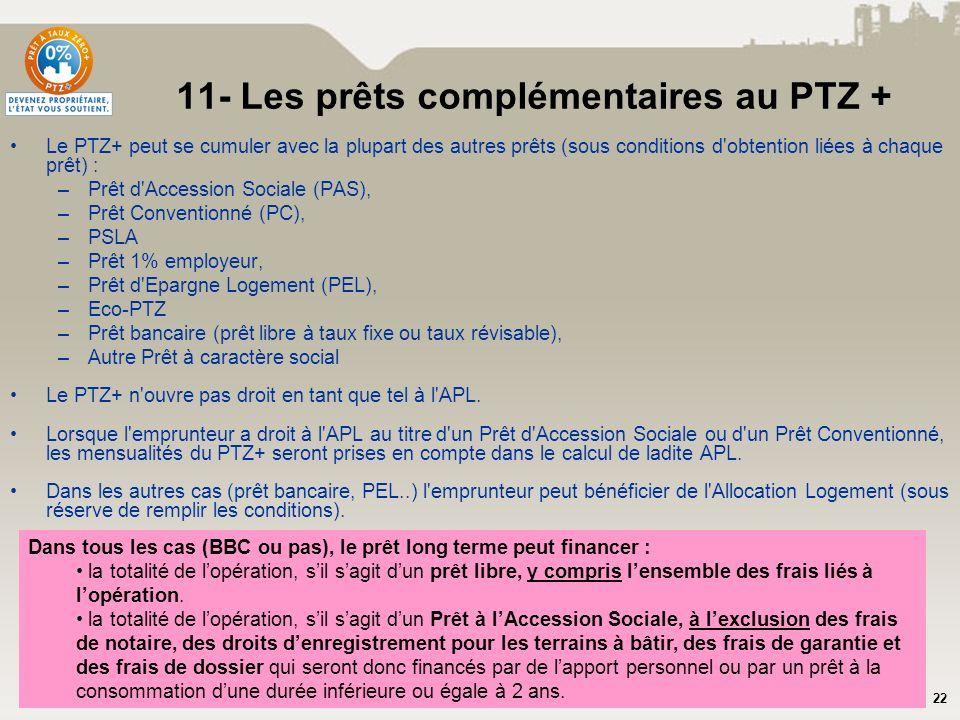 11- Les prêts complémentaires au PTZ +