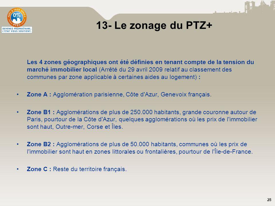 13- Le zonage du PTZ+