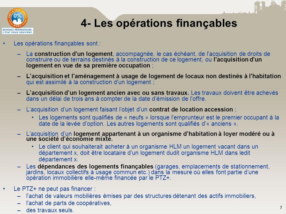 4- Les opérations finançables
