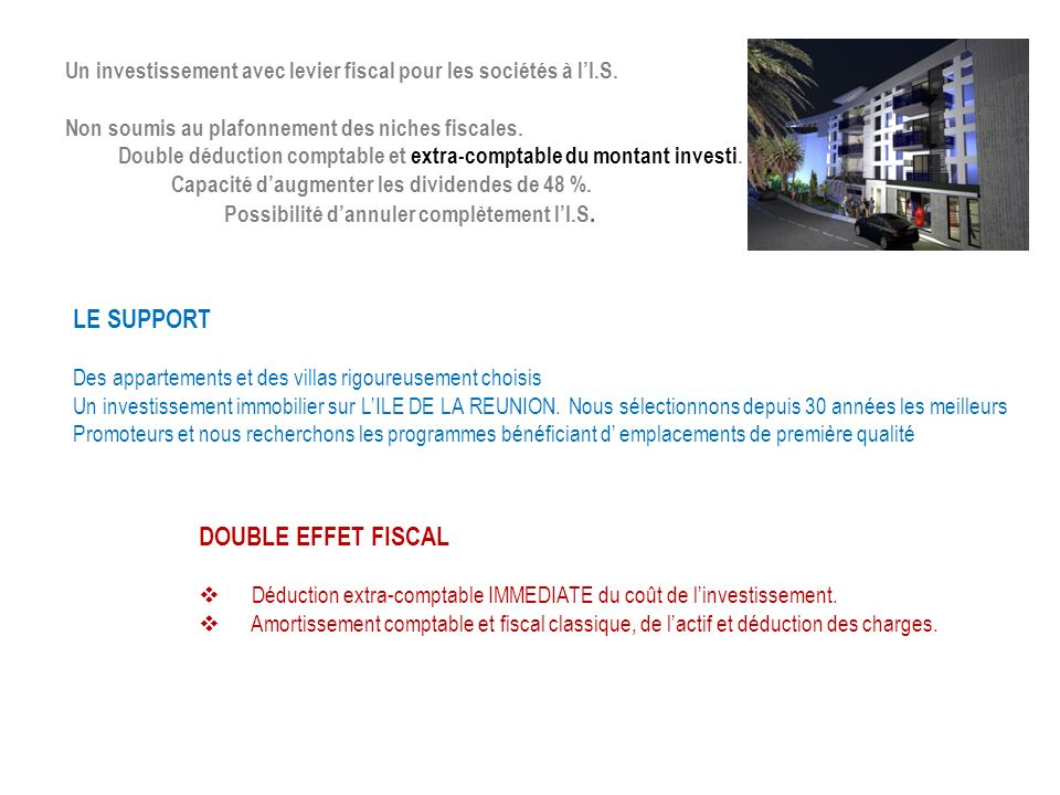 LE SUPPORT DOUBLE EFFET FISCAL