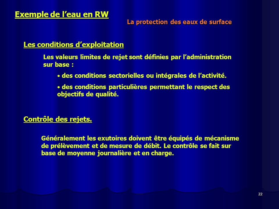 Exemple de l'eau en RW Les conditions d'exploitation