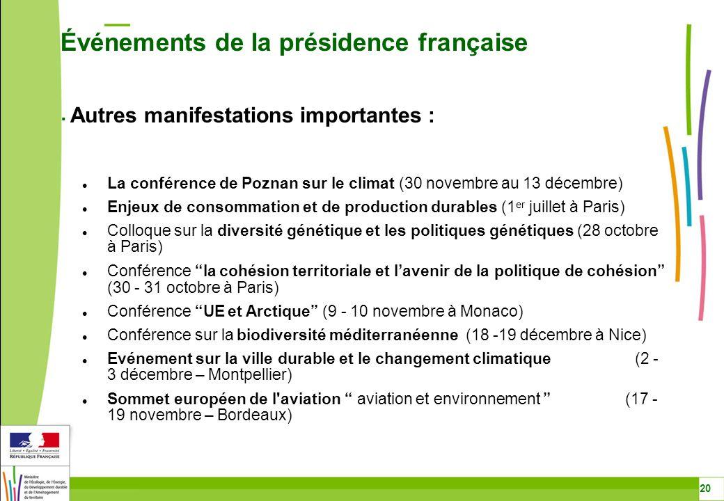 Événements de la présidence française