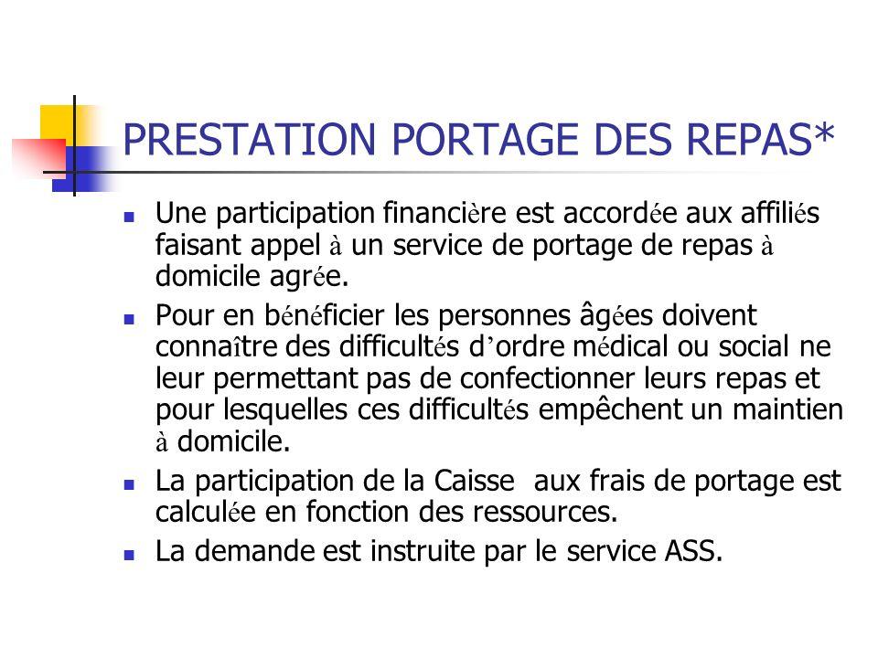 PRESTATION PORTAGE DES REPAS*