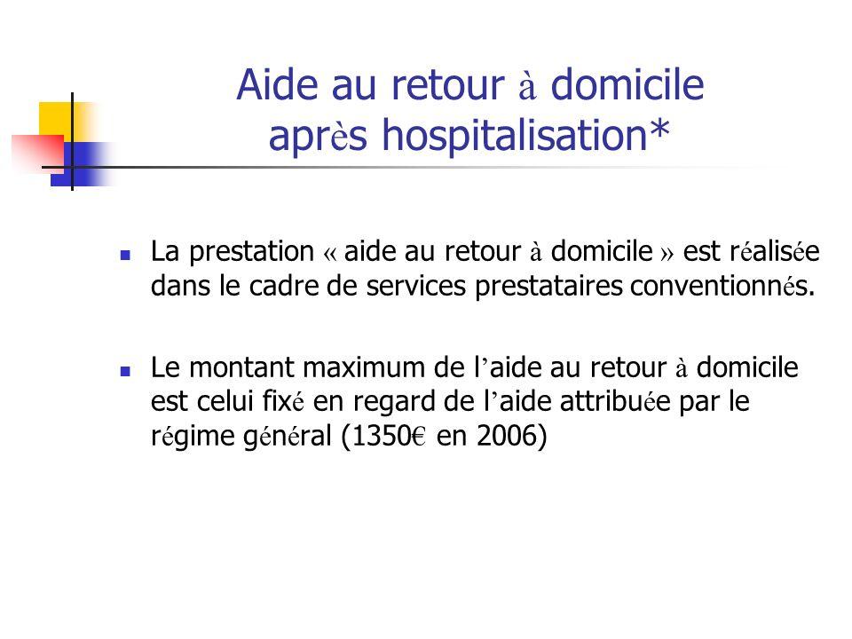 Aide au retour à domicile après hospitalisation*
