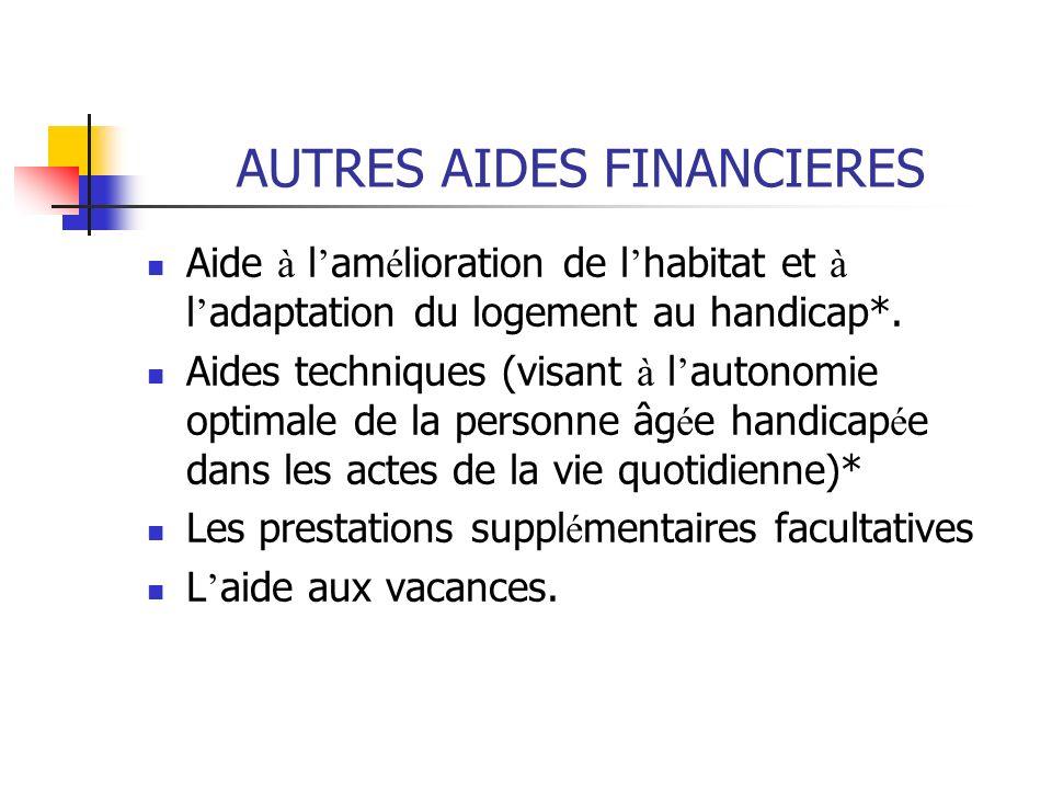 AUTRES AIDES FINANCIERES