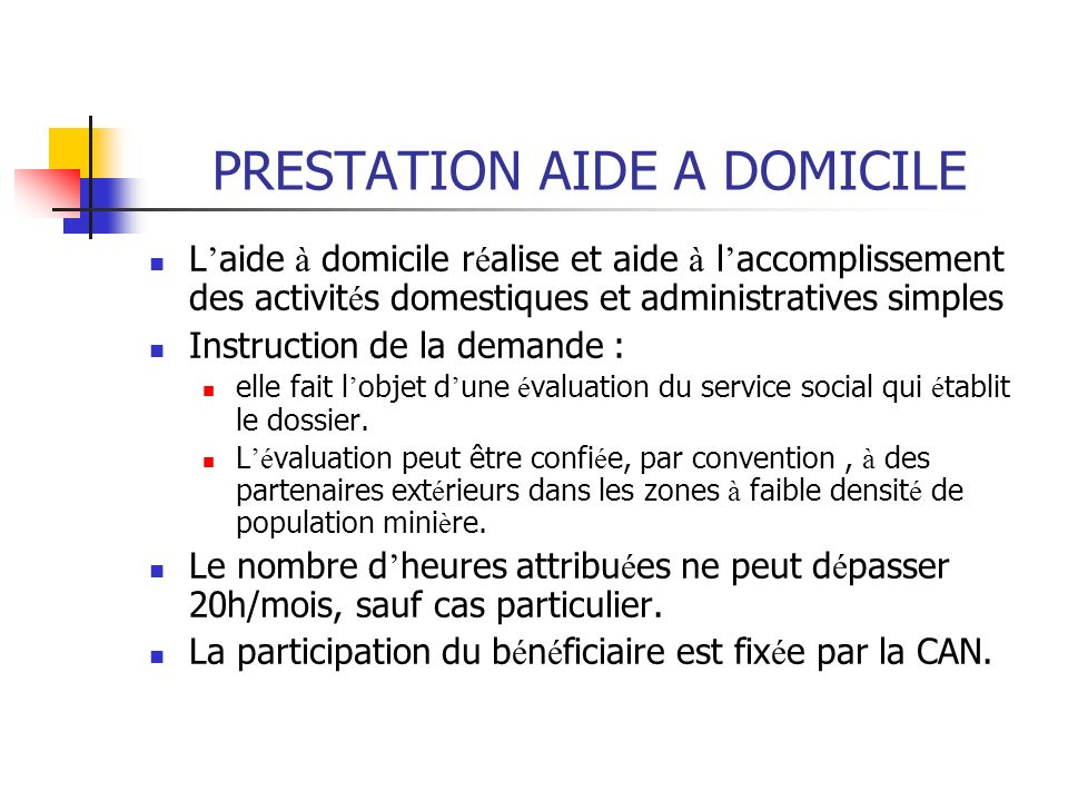 PRESTATION AIDE A DOMICILE