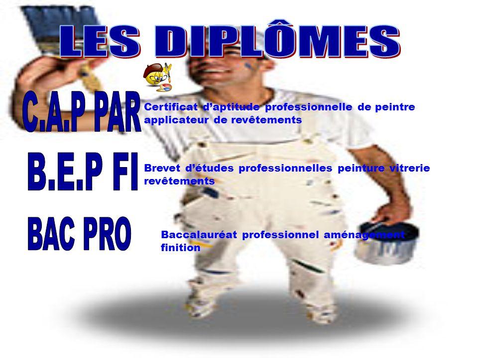 LES DIPLOMES LES DIPLÔMES C.A.P PAR B.E.P FI BAC PRO