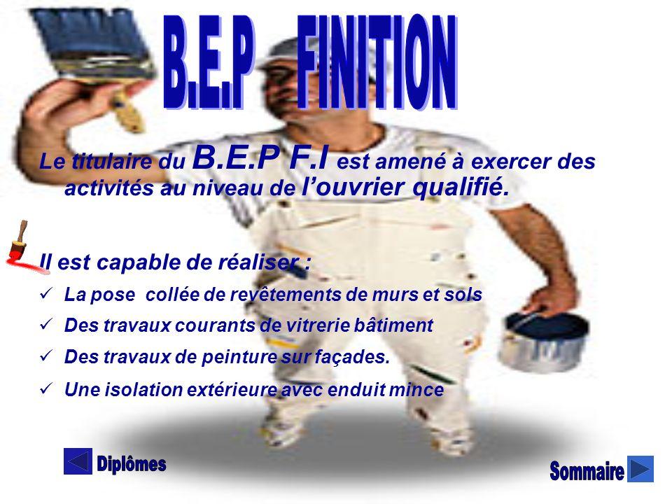 B.E.P B.E.P FINITION. Le titulaire du B.E.P F.I est amené à exercer des activités au niveau de l'ouvrier qualifié.