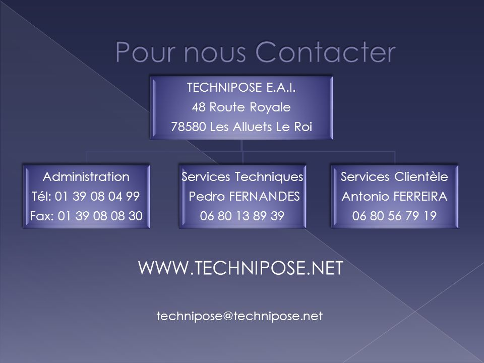 Pour nous Contacter WWW.TECHNIPOSE.NET technipose@technipose.net