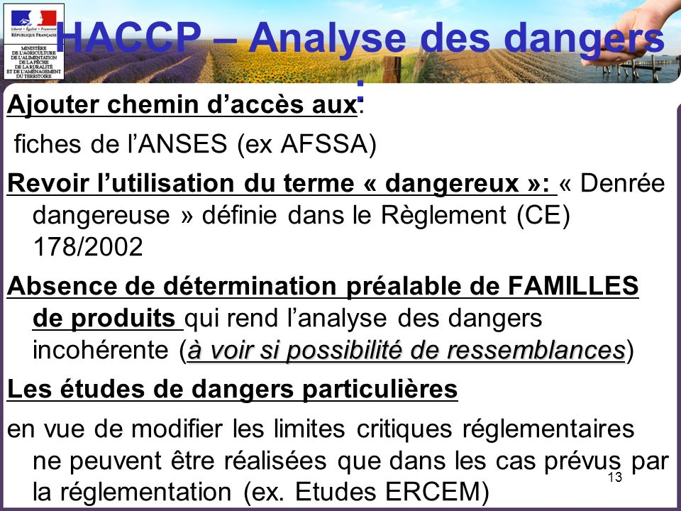 HACCP – Analyse des dangers :