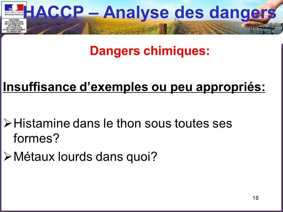 HACCP – Analyse des dangers Dangers chimiques: