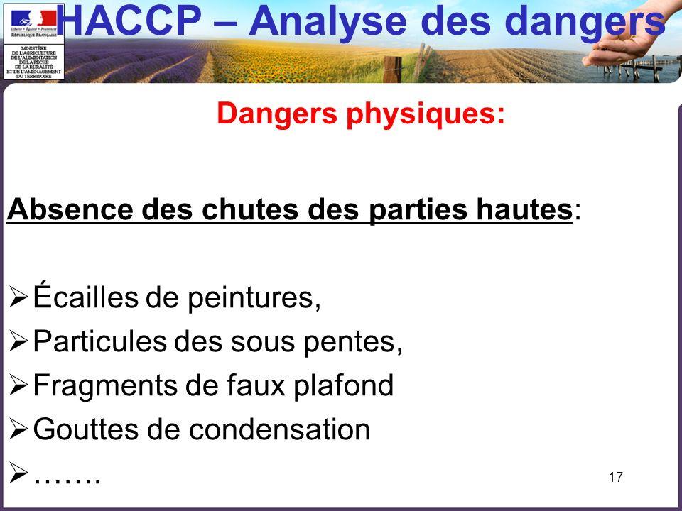 HACCP – Analyse des dangers Dangers physiques: