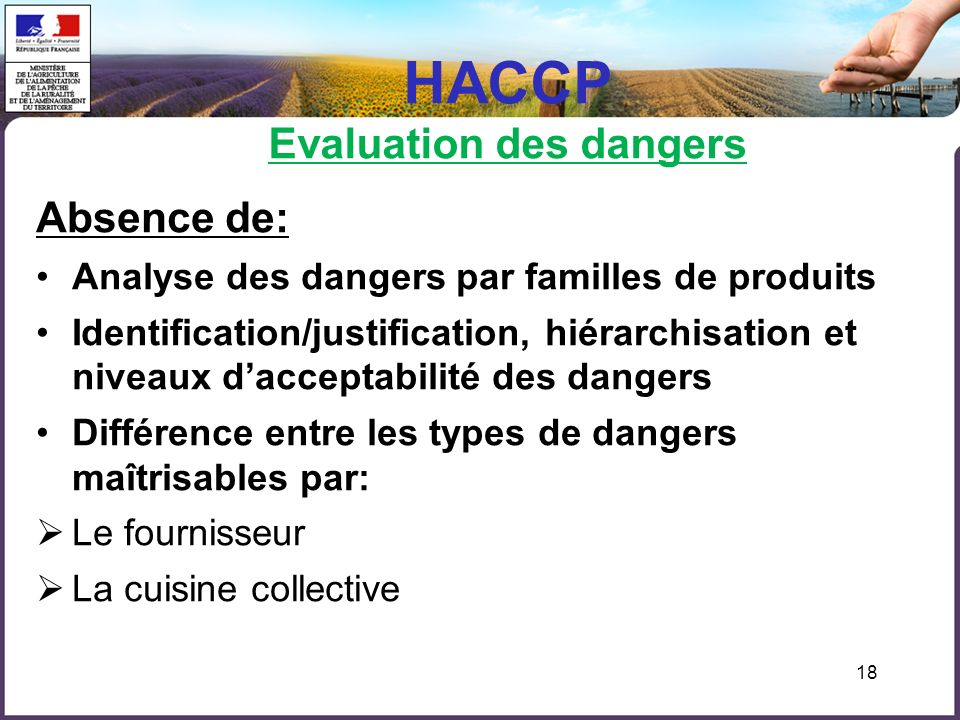 HACCP Evaluation des dangers