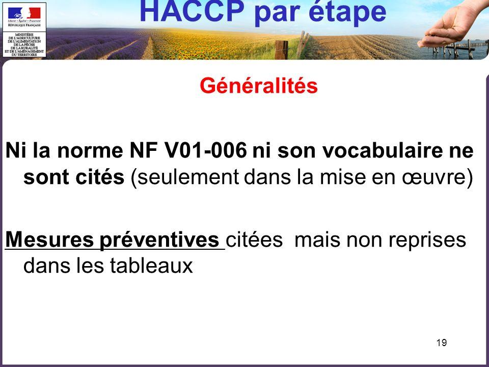HACCP par étape Généralités