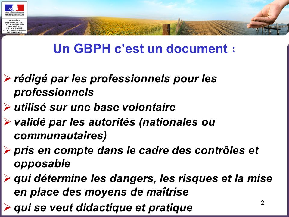 Un GBPH c'est un document :