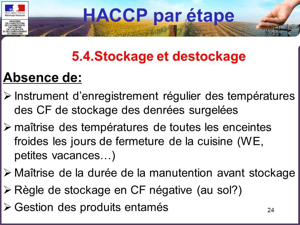 HACCP par étape 5.4.Stockage et destockage