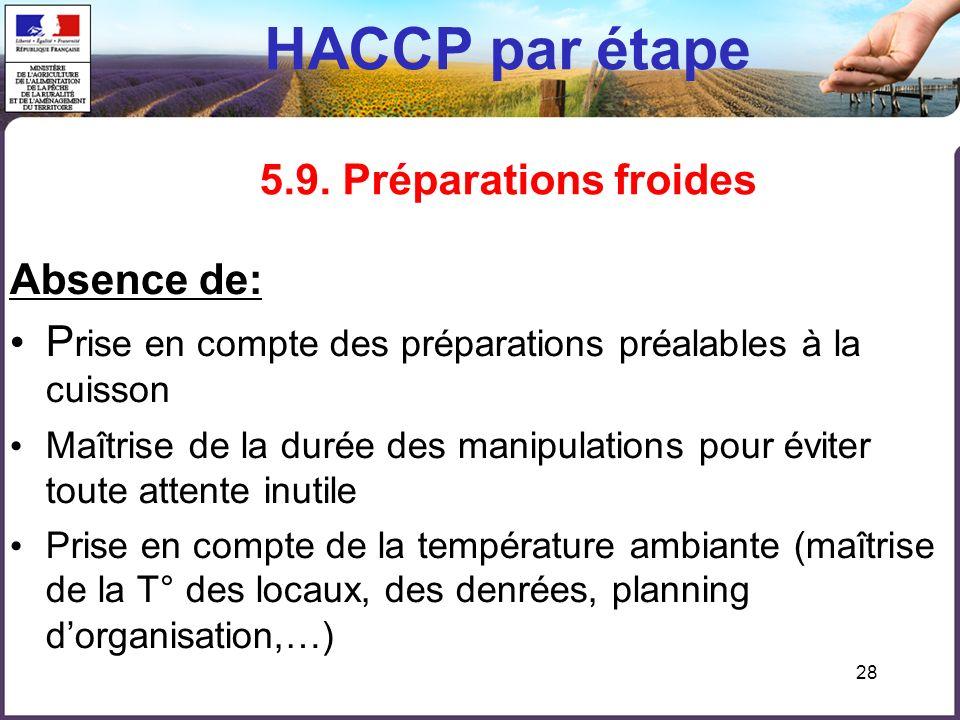 HACCP par étape 5.9. Préparations froides