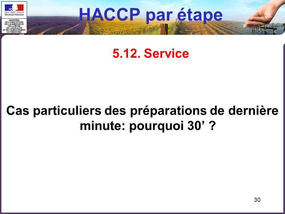 HACCP par étape 5.12. Service