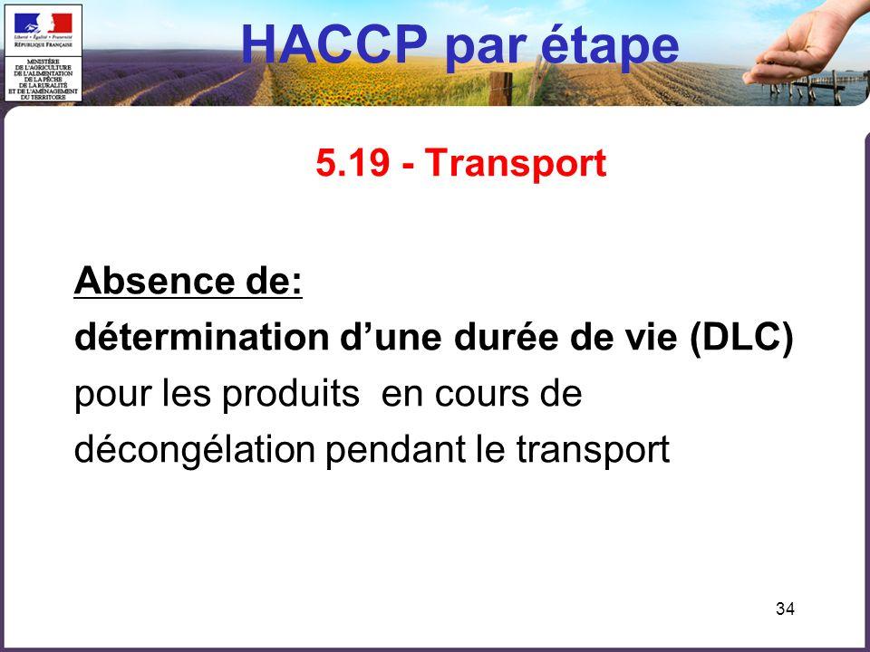 HACCP par étape 5.19 - Transport