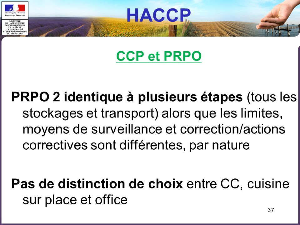HACCP CCP et PRPO
