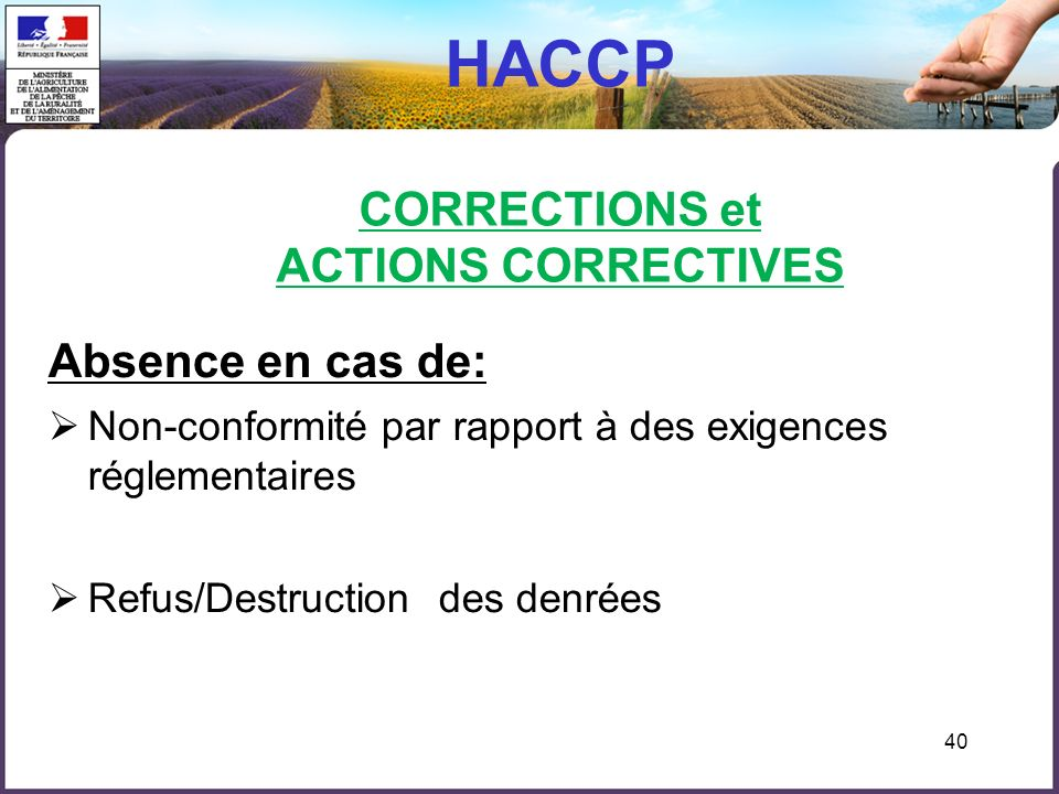 HACCP CORRECTIONS et ACTIONS CORRECTIVES
