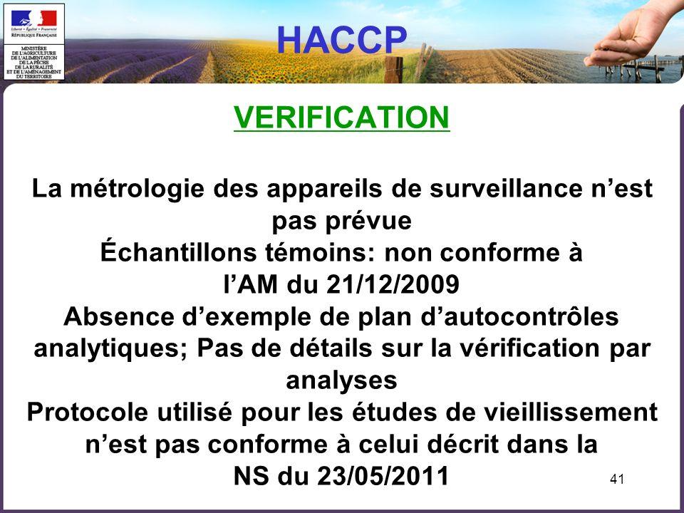 HACCP VERIFICATION La métrologie des appareils de surveillance n'est pas prévue Échantillons témoins: non conforme à l'AM du 21/12/2009 Absence d'exemple de plan d'autocontrôles analytiques; Pas de détails sur la vérification par analyses Protocole utilisé pour les études de vieillissement n'est pas conforme à celui décrit dans la NS du 23/05/2011