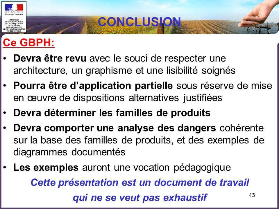 CONCLUSION Ce GBPH: Devra être revu avec le souci de respecter une architecture, un graphisme et une lisibilité soignés.