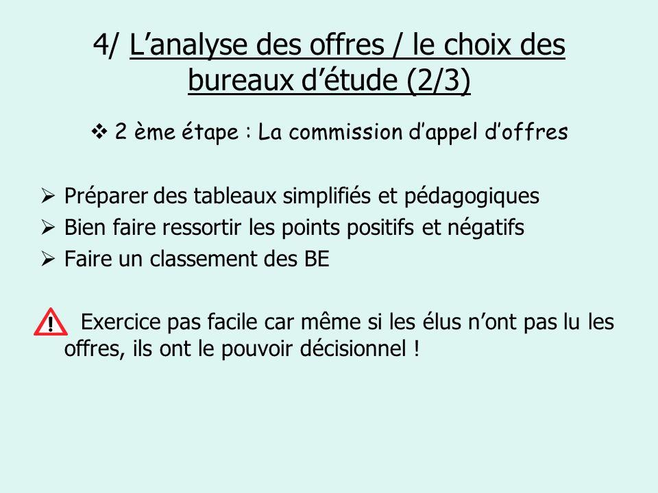 4/ L'analyse des offres / le choix des bureaux d'étude (2/3)