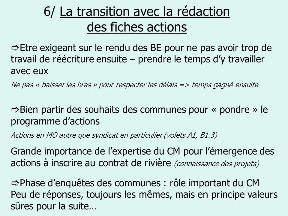 6/ La transition avec la rédaction des fiches actions